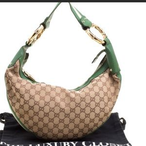 GUCCI LEATHER MONOGRAM LOGO HOBO PURSE